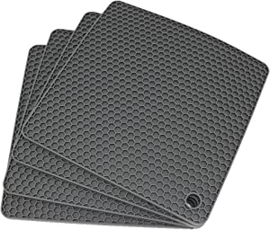 Smithcraft Silicone heat resistant trivet mat set of 4 hot pad for pot holder counter top protector and spoon rest food grade safe Square gray