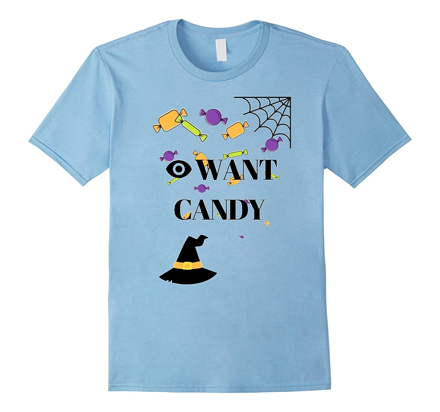 'I' Want Candy- Halloween Funny Candy Spiderweb Witch Shirt-4LVS