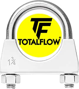 """TOTALFLOW Natural Finish 1.75"""" TF-U175 304 Stainless Steel Saddle U-Bolt Exhaust Muffler Clamp-1.75 Inch"""