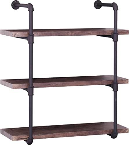 Christopher Knight Home Caden Industrial Three Tier Faux Wood Wall-Mounted Shelf, Finish, Dark Brown Texture Brown