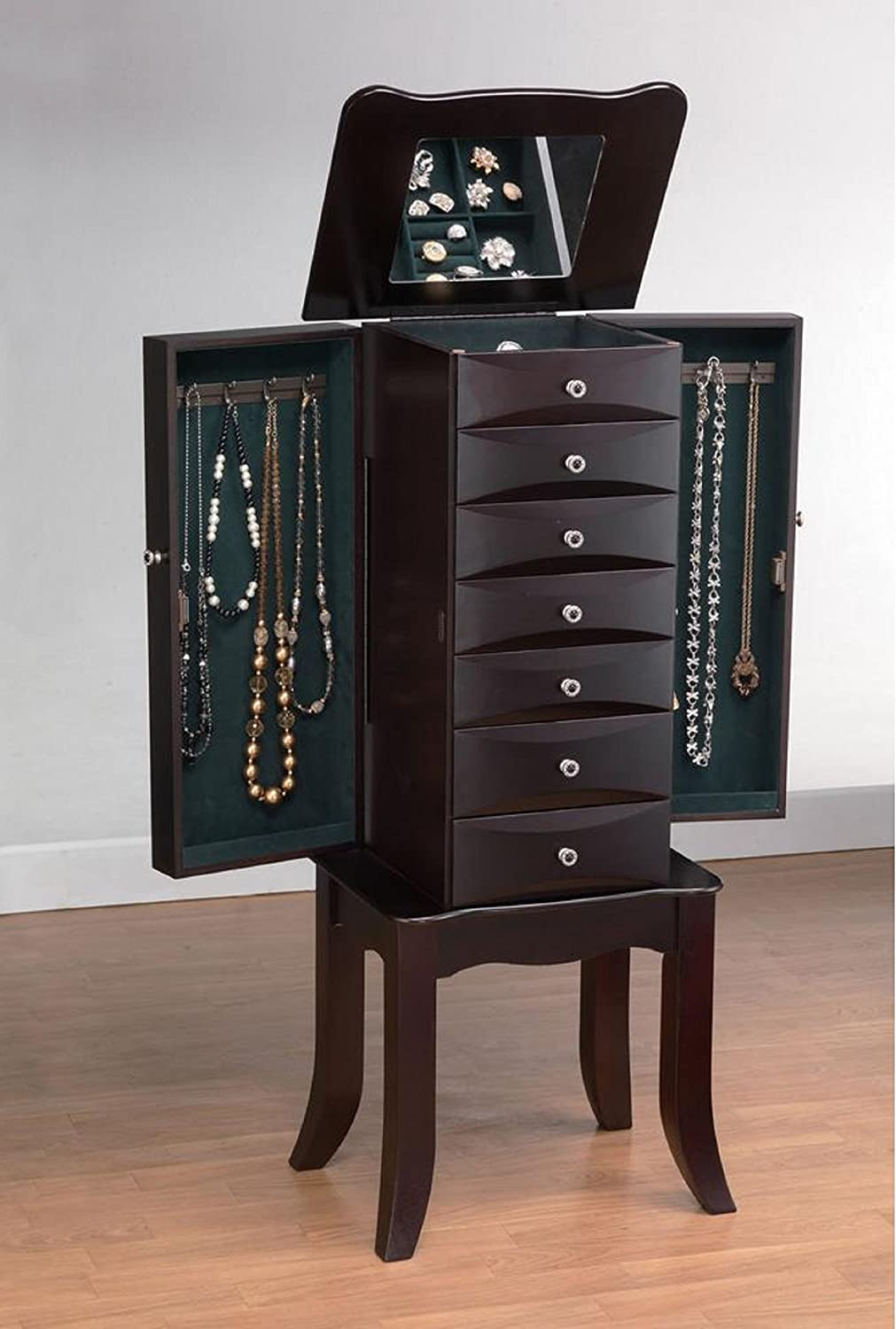 Major-Q 9016000 Java Finish Classy Jewelry Armoire with Storage Drawers and Hidden Mirror