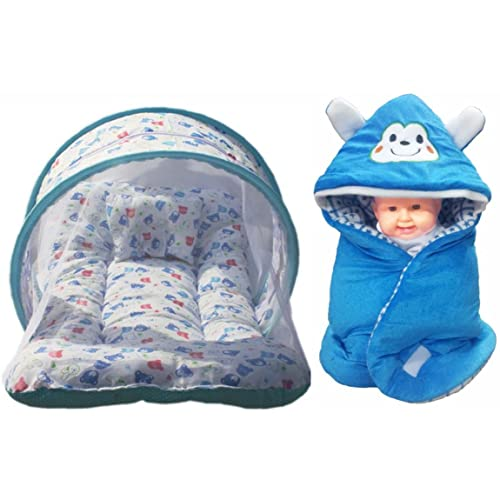 Brandonn Premium Toddler Mattress with Mosquito Net and Hooded Baby Blanket Pack (Blue, Pack of 2)