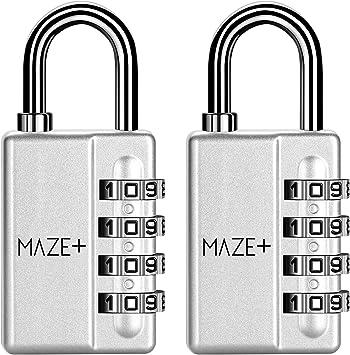 MazePlus - Candados de combinación de 4 dígitos, de alta seguridad ...