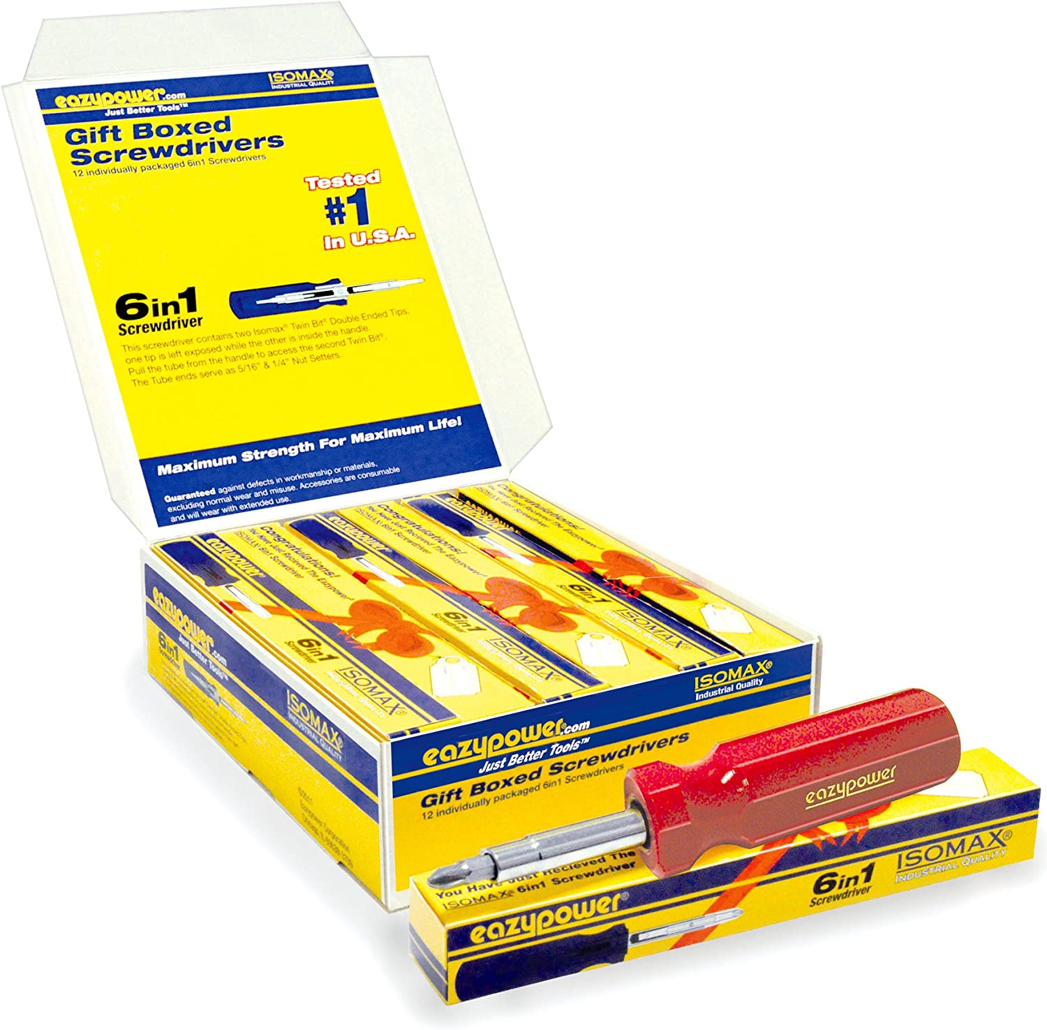 Eazypower 80623 12-Pack Isomax AAA Molded 6-in-1 Screwdriver Individually Gift Boxed Hot Colors
