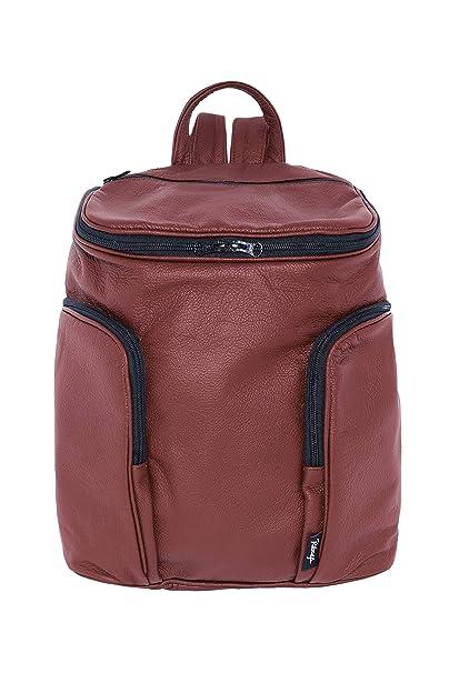 Mochila de Piel de Color Rojo Artesanal - Standard - RIBAGS: Amazon.es: Equipaje