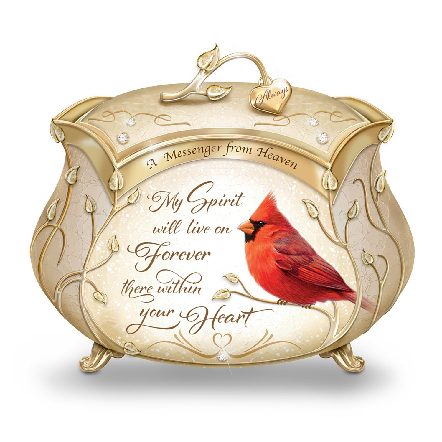 James Hautman A Messenger From Heaven Cardinal Music Box with 22K Gold Accents by The Bradford Exchange by Bradford Exchange (Image #1)