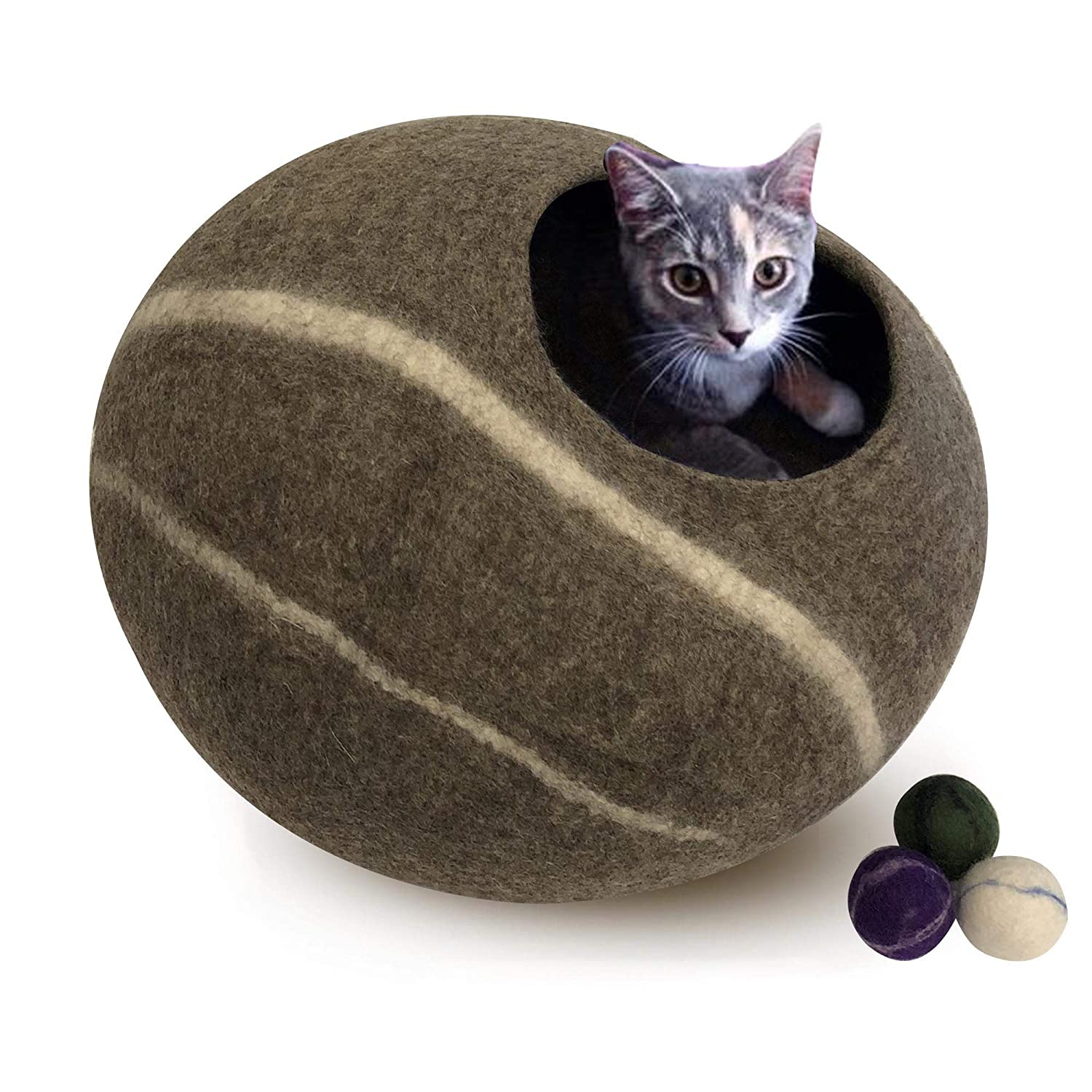 Genuine Felt Cat Bed Cave, Handmade in Nepal 100% All Natural Wool, Super Soft Kittens Cats (Tan Striped)