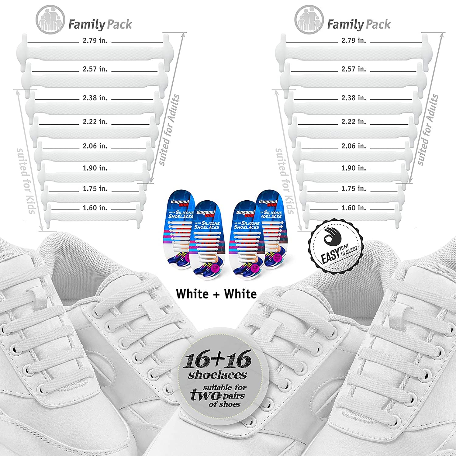 Great for Sneakers and Casual Footwear Diagonal One No Tie Shoelaces Slip On Tieless Elastic Silicone Shoe Laces for Kids Adults /& Seniors