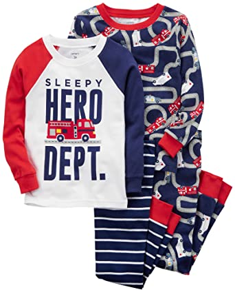 36ca75b39 Amazon.com  Carter s Boys  4-Pc. Hero Snug Fit Cotton Pajamas  Clothing