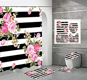 4 PCS Pink Flower Shower Curtain Sets with Non-Slip Rugs and Toilet Lid Cover with Black and White Stripe Floral Bath Decor Shower Curtains 72