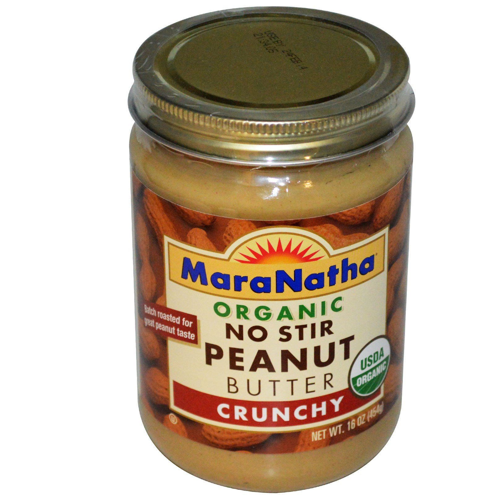MaraNatha, Organic No Stir Peanut Butter, Crunchy, 16 oz (454 g) -- 2PC