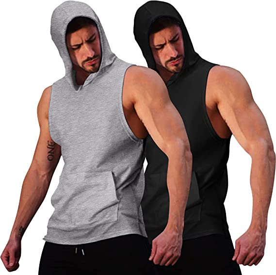 COOFANDY Mens Workout Hooded Tank Top Gym Muscle Cut Off Short Sleeves T-Shirt