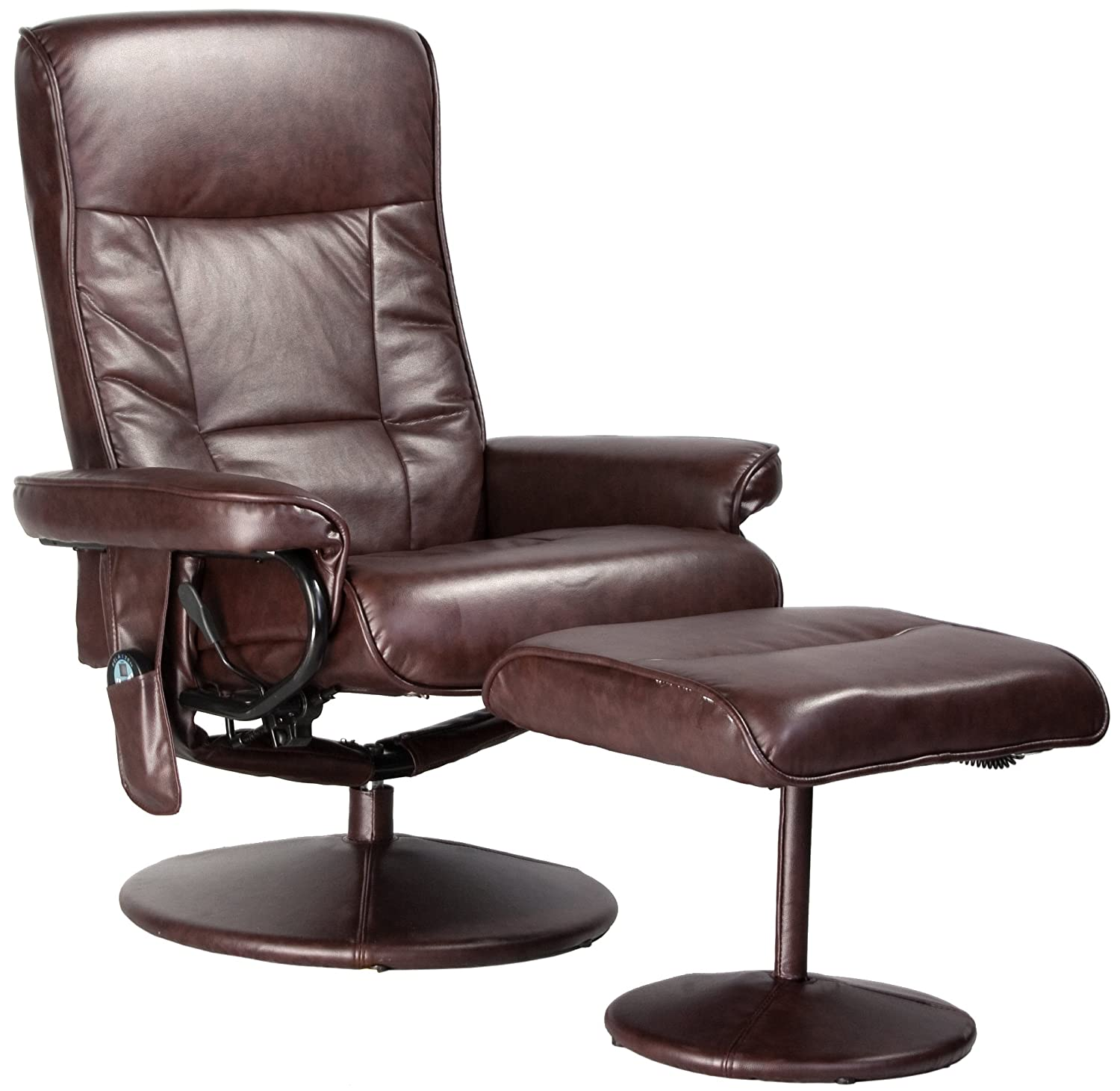 Relaxzen 60-425111 Leisure Recliner Chair with 8-Motor Massage & Heat - Brown