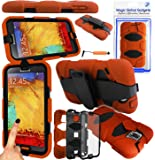 Magic Global Gadgets - Orange Heavy Duty Ultra Tough Military Case For Samsung Galaxy Note 3 III N9000 / N9005 / N9002 3G LTE Rugged Builders Workman School Extreme Grade Shock Proof Cover With 90� Swivel Belt Clip + Built In Screen Guard Protector & Mini Capacitive Stylus Touch Pen