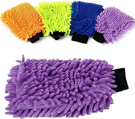 4x Gant couleur Nettoyage Microfibre vioture menage verre chenille double face