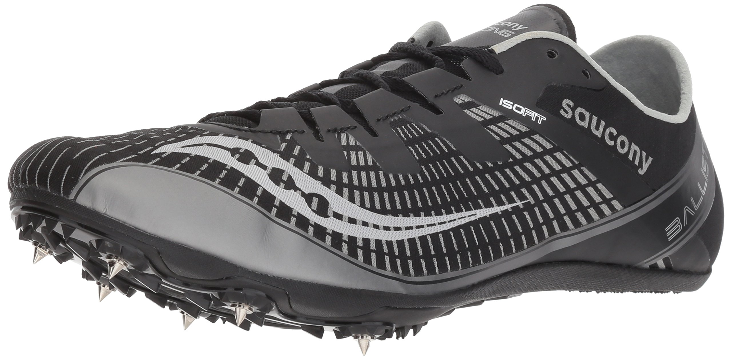 Saucony Men's Ballista 2 Track and Field Shoe, Black/Silver, 8 Medium US