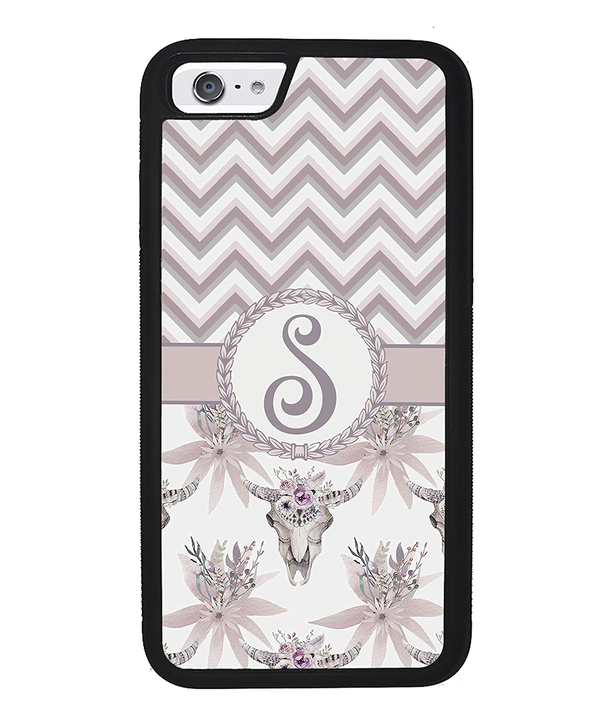 Vintage Skull Flowers Chevron Personalized Initial Apple iPhone Black Rubber Phone Case Compatible With iPhone 12 12 Pro 12 Pro Max 12 Mini iPhone 11 Pro Max iPhone X XR XS Max XS 7 Plus 5 SE 6 Plus