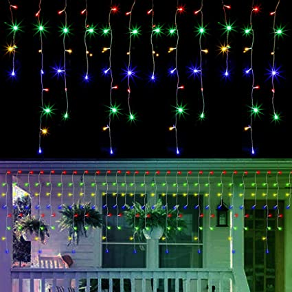 29.5ft 8 Modes Curtain Fairy Lights with 60 Drops WATERGLIDE 360 LED Christmas Icicle Lights Outdoor Dripping Icicle String Light Warm White Indoor Xmas Holiday Wedding Party Decorations