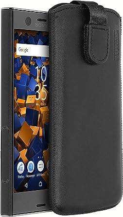 Mumbi Echt Ledertasche Kompatibel Mit Sony Xperia Xz1 Compact Hülle Leder Tasche Case Wallet Schwarz Elektronik