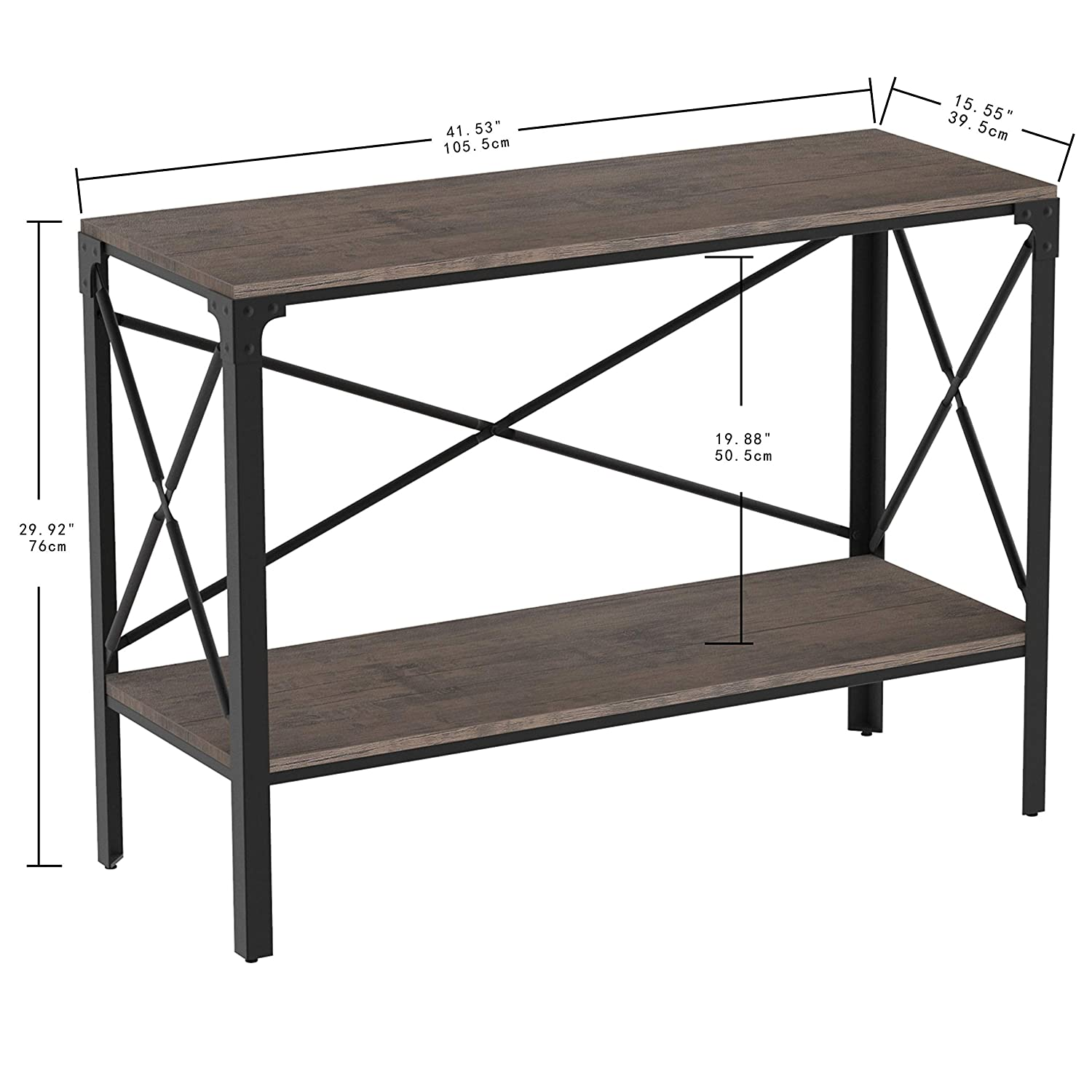 Industrial Style Dark Brown Entry Table for Entryway Living Room/£/¬Easy Assembly Entryway Table with Storage IRONCK Rustic Console Table 2 Tier