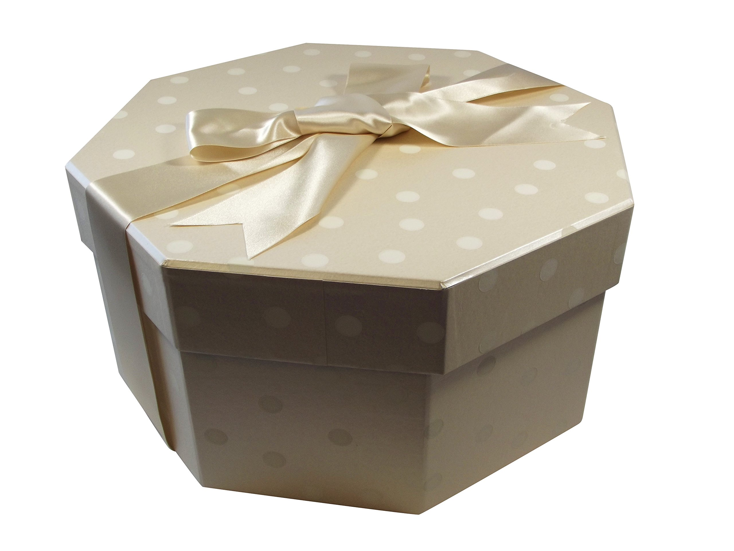 Foster-Stephens, inc Colorful Hat Box - Polka Dot Champaign (Large: 20.08'' Diameter x 8.27'') by Foster-Stephens, inc