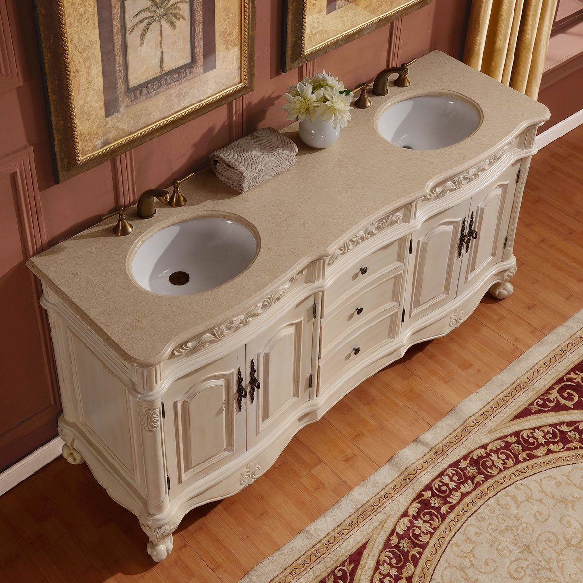 Silkroad Exclusive Countertop Marble Stone Double Sink Bathroom Vanity with Cabinet, 72-Inch by Silkroad Exclusive (Image #2)