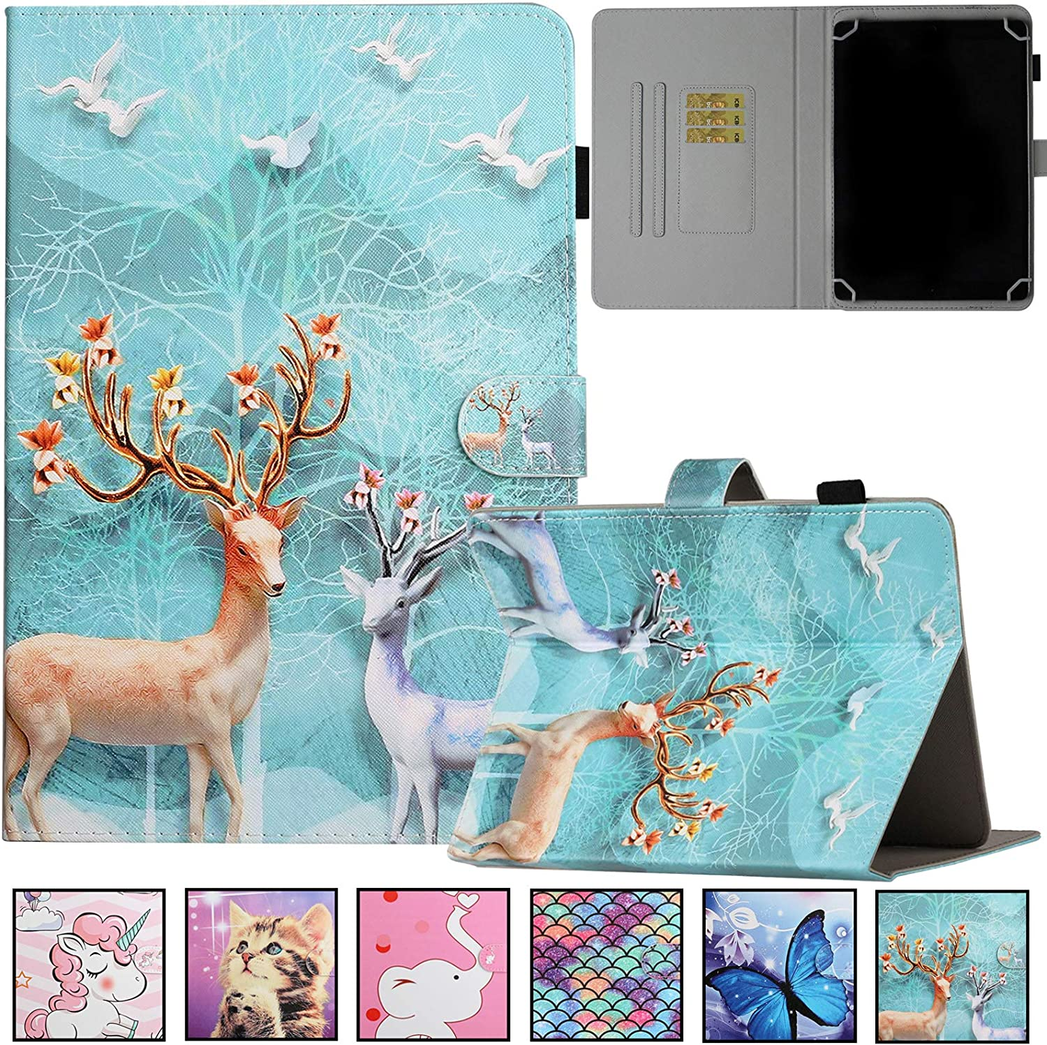 Universal Case for 9.0-10.5 inch Tablet,Artyond PU Leather Card Slot Wallet Folio Stand Cover for Apple/Samsung/Kindle/Huawei/Lenovo/Android/Dragon Touch 9.7 9.6 10.1 10.5 Inch Tablet (Sika Deer)