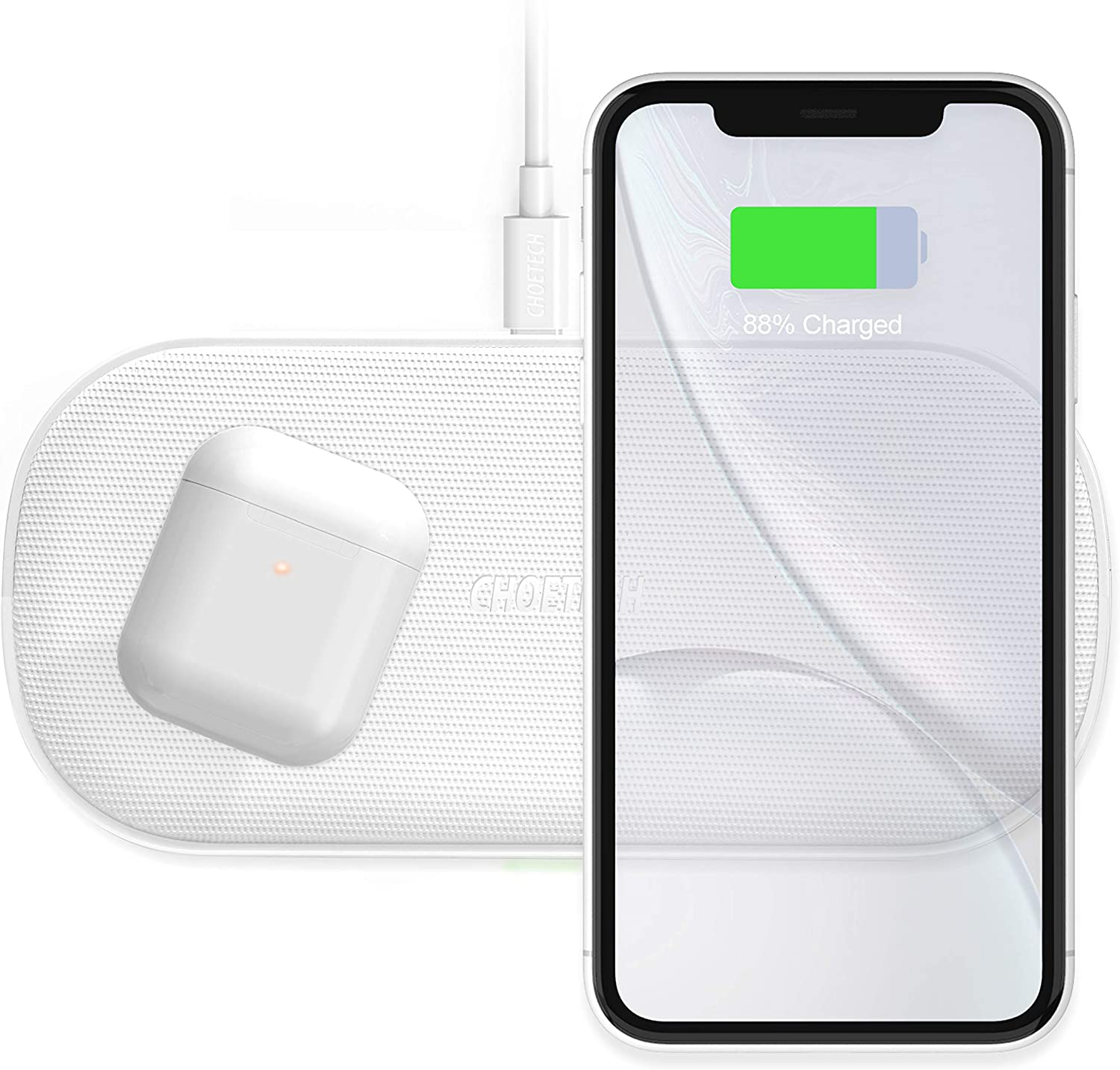 CHOETECH 7.5/10W Cargador Inalámbrico Doble, 5 Bobinas Fast Wireless Charger Qi Cargador Rápido para iPhone11/11Pro/11ProMax/SE/XR/XS MAX/X/8, Samsung Note10/S20/S10/S9, 5W para Huawei P30pro,Airpods2