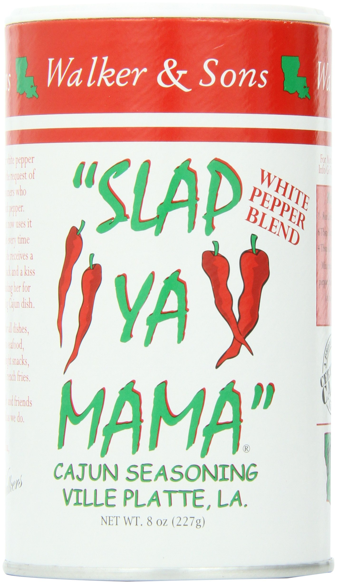 SLAP YA MAMA White Pepper Cajun Seasoning, 8-Ounce (Pack of 4)