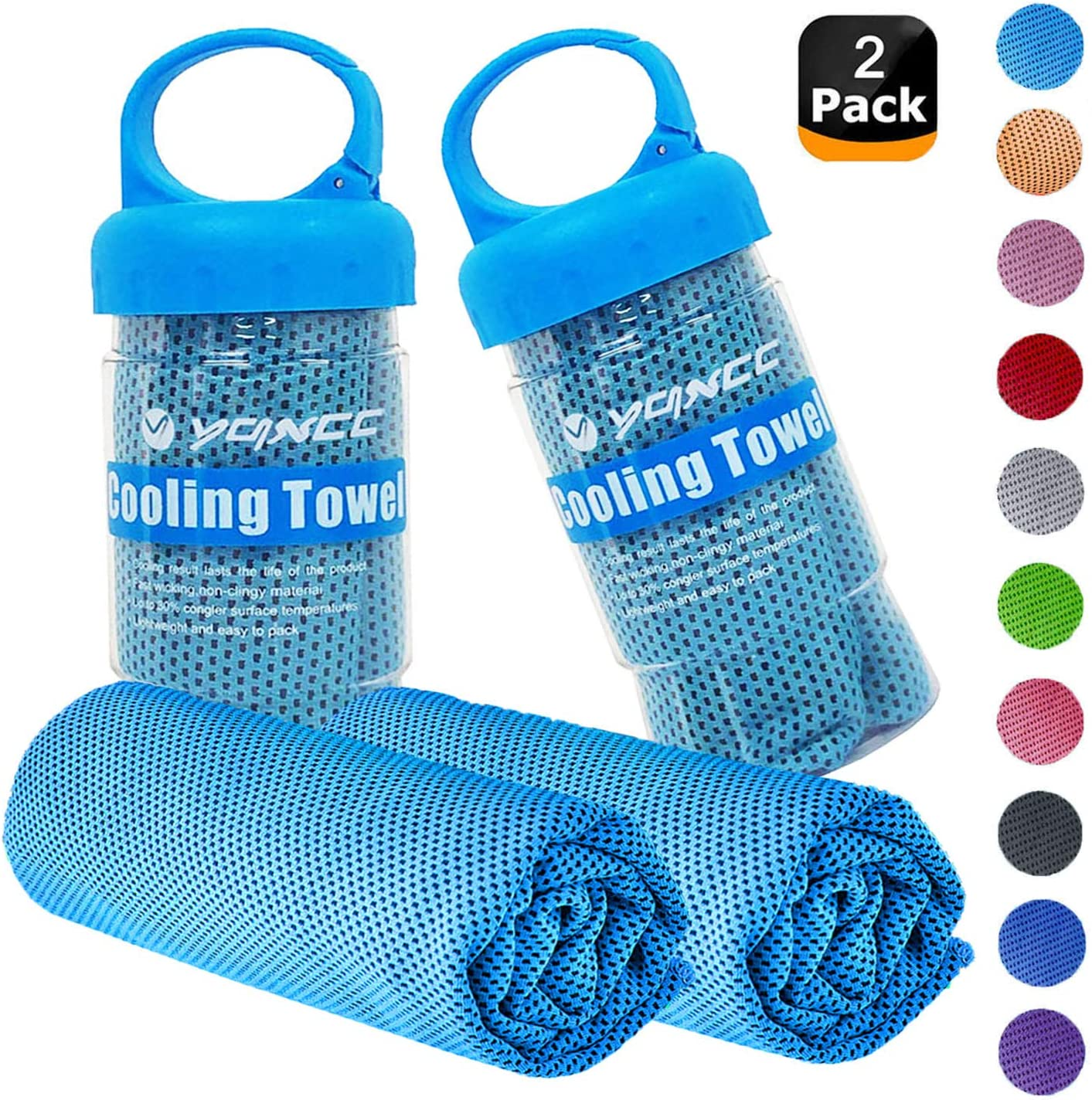 """YQXCC Cooling Towels 2 Pack (47""""x12"""") Travel Towel Microfiber Gym Towel for Men or Women Ice Cold Towels for Yoga Gym Travel Camping Golf Football & Outdoor Sports"""