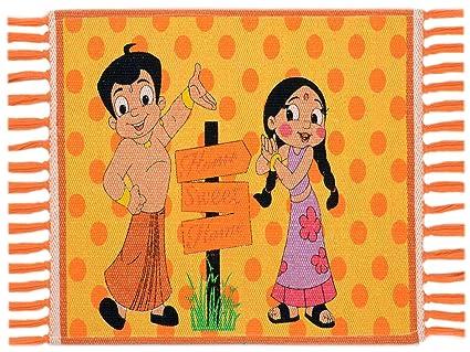 Saral Home Chotta Bheem Multi Purpose Kids Rugs- 40x60 cm, Yellow