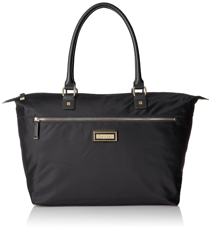8665ad965 Amazon.com: Calvin Klein Belfast Key Item Nylon Top Zip Tote, Black/Gold:  Clothing