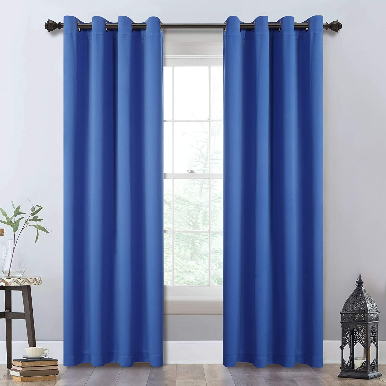 MYSKY HOME Royal Blue Curtains 84 Inches Long,Set of 2 Panels,Thermal Insulated Grommet Blackout Curtains,Light Blocking Room Darkening Curtains for Bedroom,Living Room,52