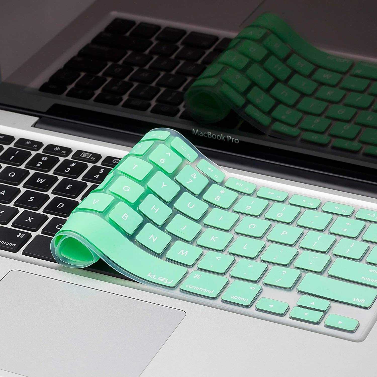 Kuzy - MacBook Keyboard Cover for Older Version MacBook Pro 13, 15, 17 inch and MacBook Air 13 inch, iMac Wireless Keyboard, Apple Computer Accessories Key Board Silicone Skin Protector - Mint Green