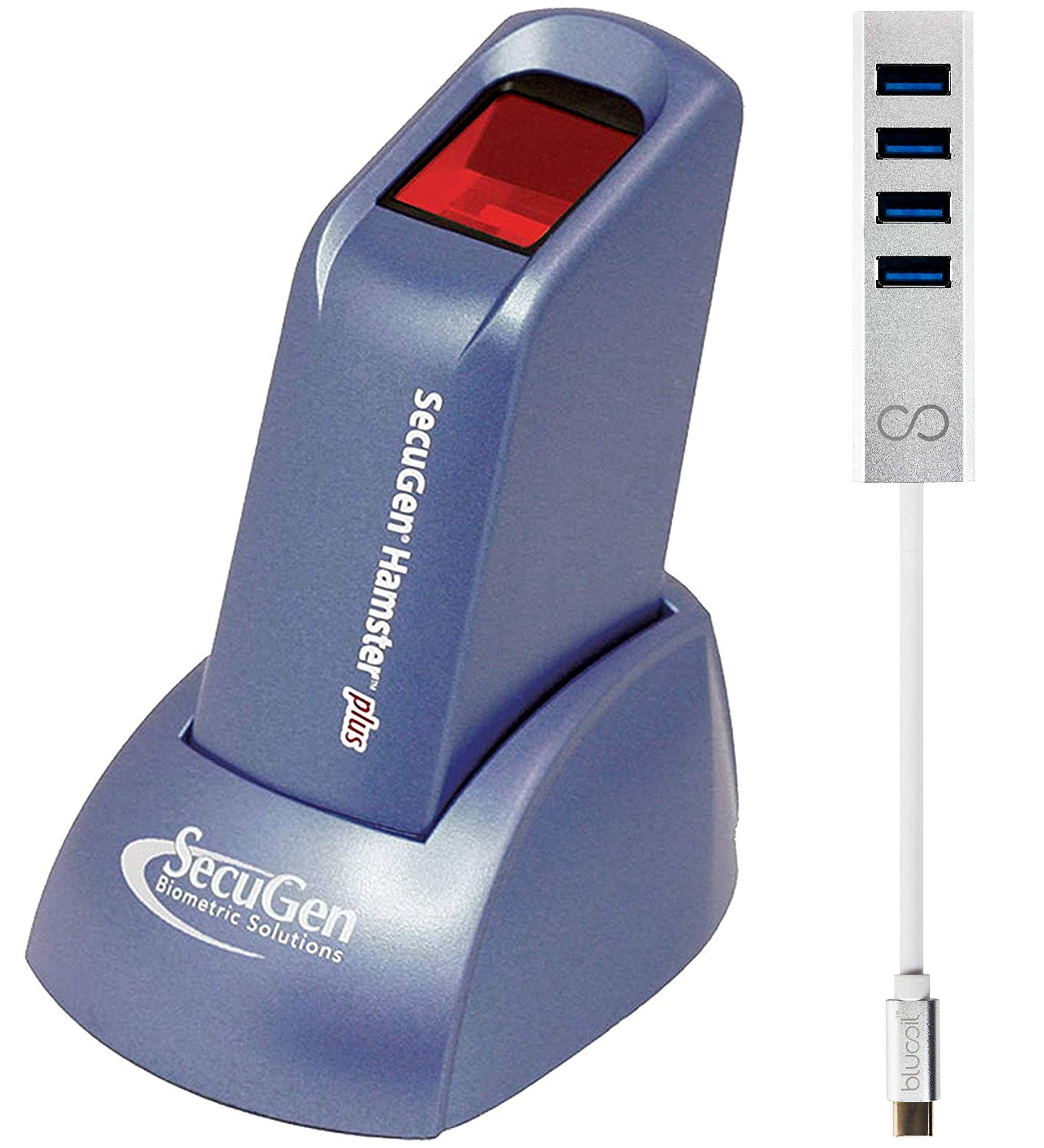 SecuGen Hamster Plus Fingerprint Scanner - Biometric Sensor Bundle with Blucoil USB Type-C Mini Hub with 4 Ports