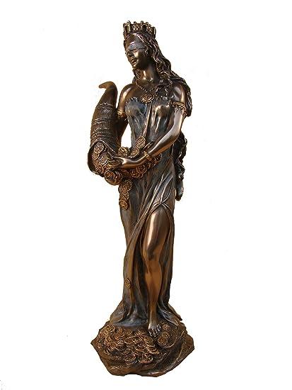 Diosa romana Escultura aprox FORTUNA. 30 cm bronce-chapado en oro