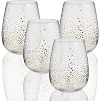 Circleware 76823 Gold Confetti Stemless Wine Glasses, Set of 4, Drinking Glassware for for Water, Juice, Beer, Liquor and Best Selling Kitchen & Home Decor Bar Dining Beverage Gifts, 18.5 oz