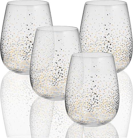 152e52871b3 Circleware 76823 Gold Confetti Stemless Wine Glasses, Set of 4, Drinking  Glassware for for
