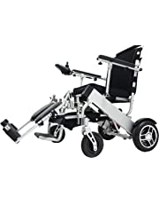 "EBEI Electric Wheelchair Folding Lightweight Deluxe Foldable Power Compact Mobility Aid Wheelchair Support 300 Lbs Heavy Duty, New upgraded with more secure and stable 10"" Rear Tires (only weight 48 lbs+2 batteries+1 yrs warranty)"