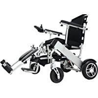 """EBEI Electric Wheelchair Folding Lightweight Deluxe Foldable Power Compact Mobility Aid Wheelchair Support 300 Lbs Heavy Duty, New upgraded with more secure and stable 10"""" Rear Tires (only weight 48 lbs+2 batteries+1 yrs warranty)"""