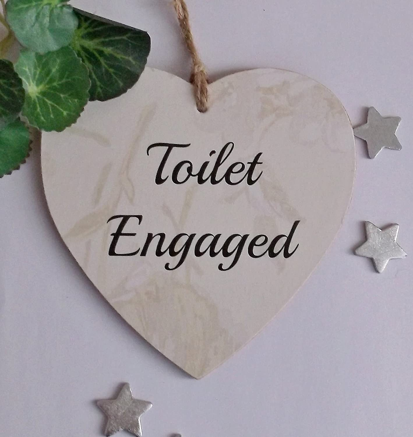 Engaged/Vacant Toilet Door Sign Double Sided Wooden Heart Craftworksdirect