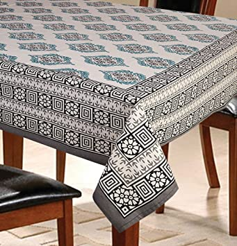 Buy 6 Seater Floral Grey Dining Table Cover Online At Low Prices
