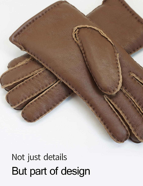 YISEVEN Herren Klassische Lammfell Lederhandschuhe aus Shearling
