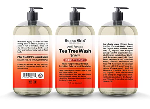 Tea Tree Anti Fungal Body Wash Extra Strength 10% - For Body Odor, Foot and Toenails - Helps Wash Away Dirt, Athletes Foot, Eczema, Ringworm, Jock itch, Acne 9 OZ By Buena Skin