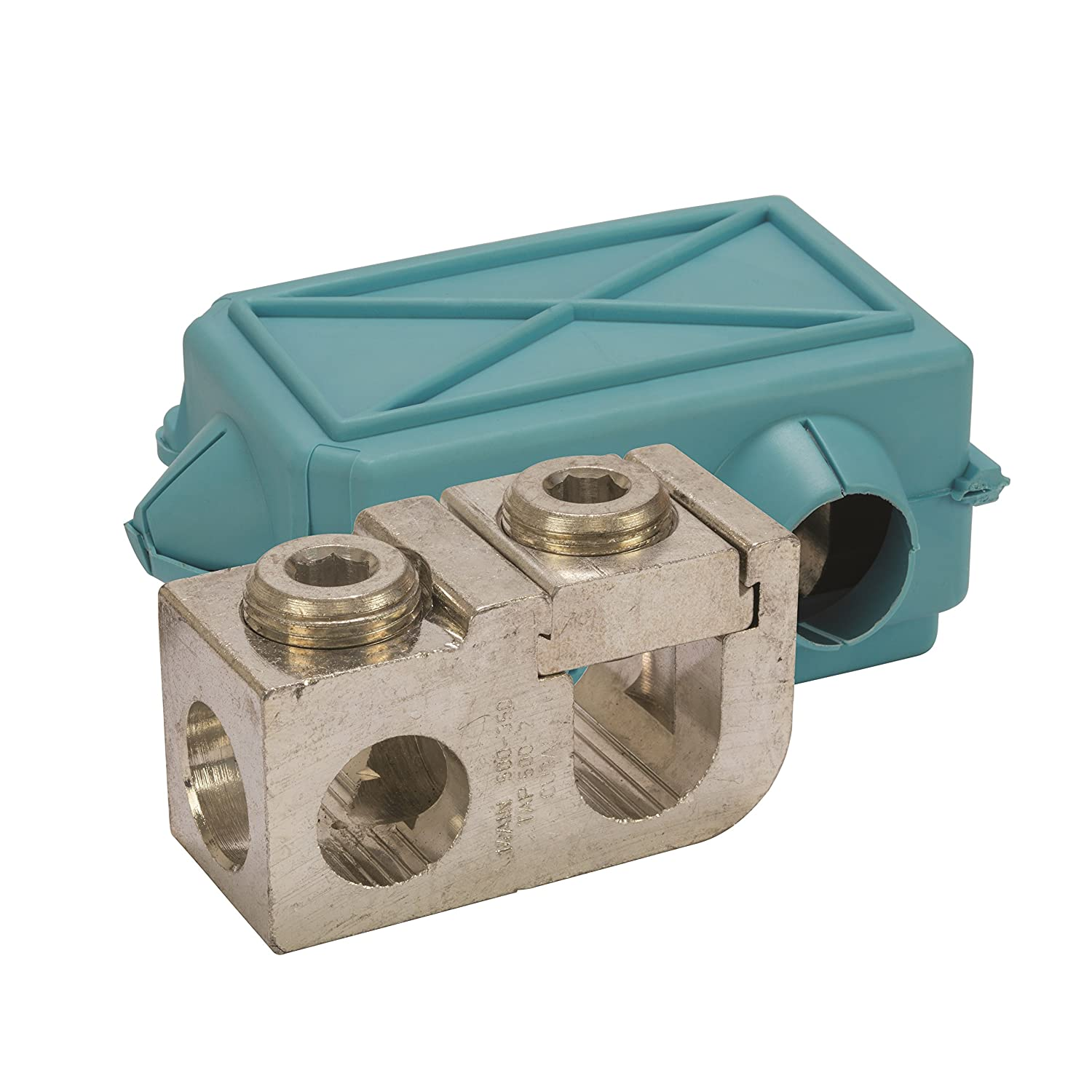 1.750 Height 500-350 Main Dual Rated Mechanical Tap Connector with Insulating Cover 500-2 Tap 1.375 Width 3.125 Length