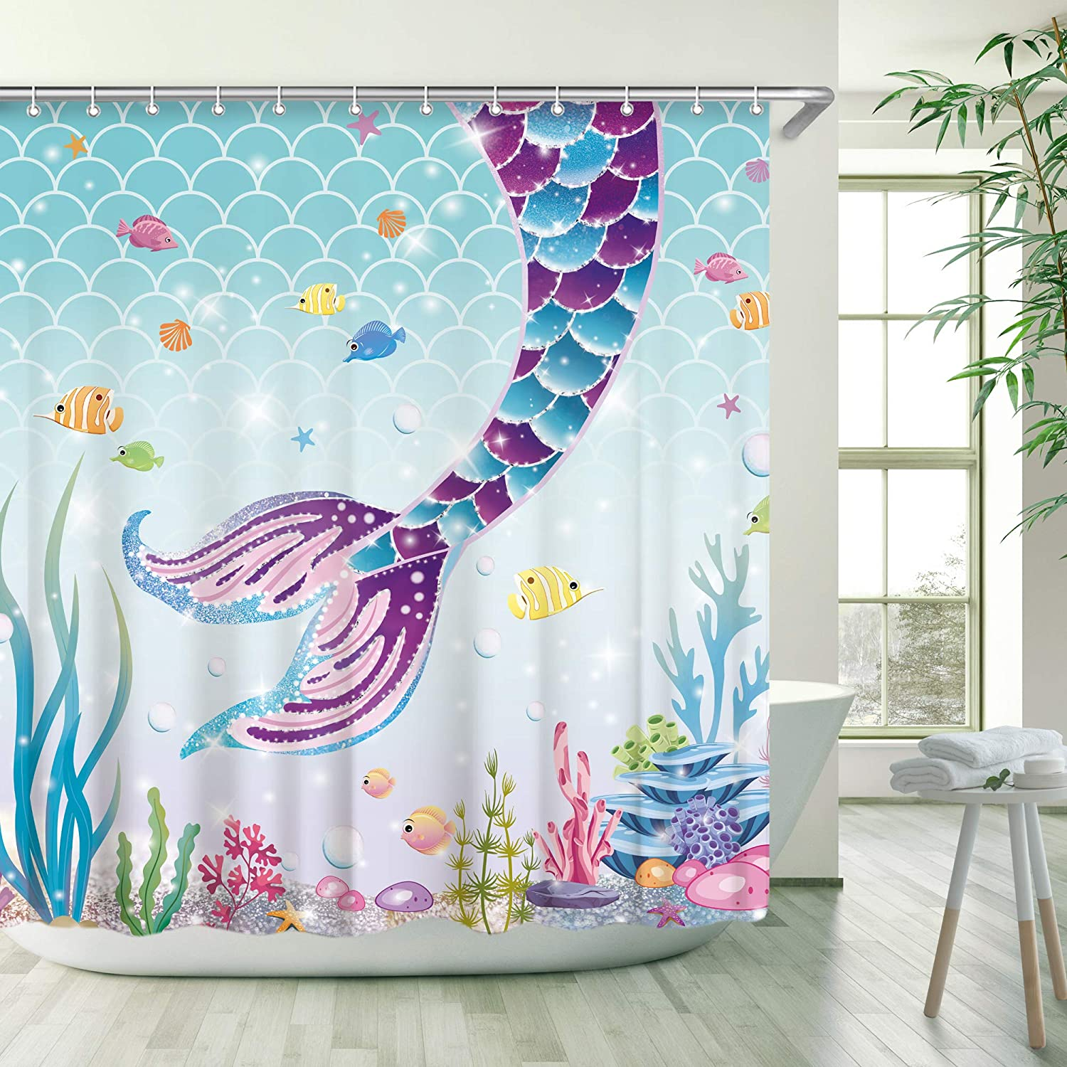RosieLily Mermaid Tail Shower Curtain for Kids Bathroom Fish Scale Ocean Theme, 3D Purple and Blue Mermaid Tail Shower Curtain Seaweed Decor with 12 Hooks 72 Inch