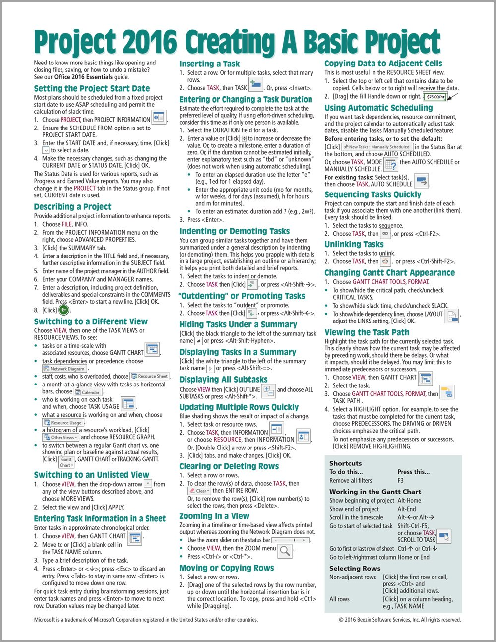 Microsoft Project 2016 Quick Reference Guide Creating a Basic Project - Windows Version (Cheat Sheet of Instructions, Tips & Shortcuts - Laminated Card) PDF
