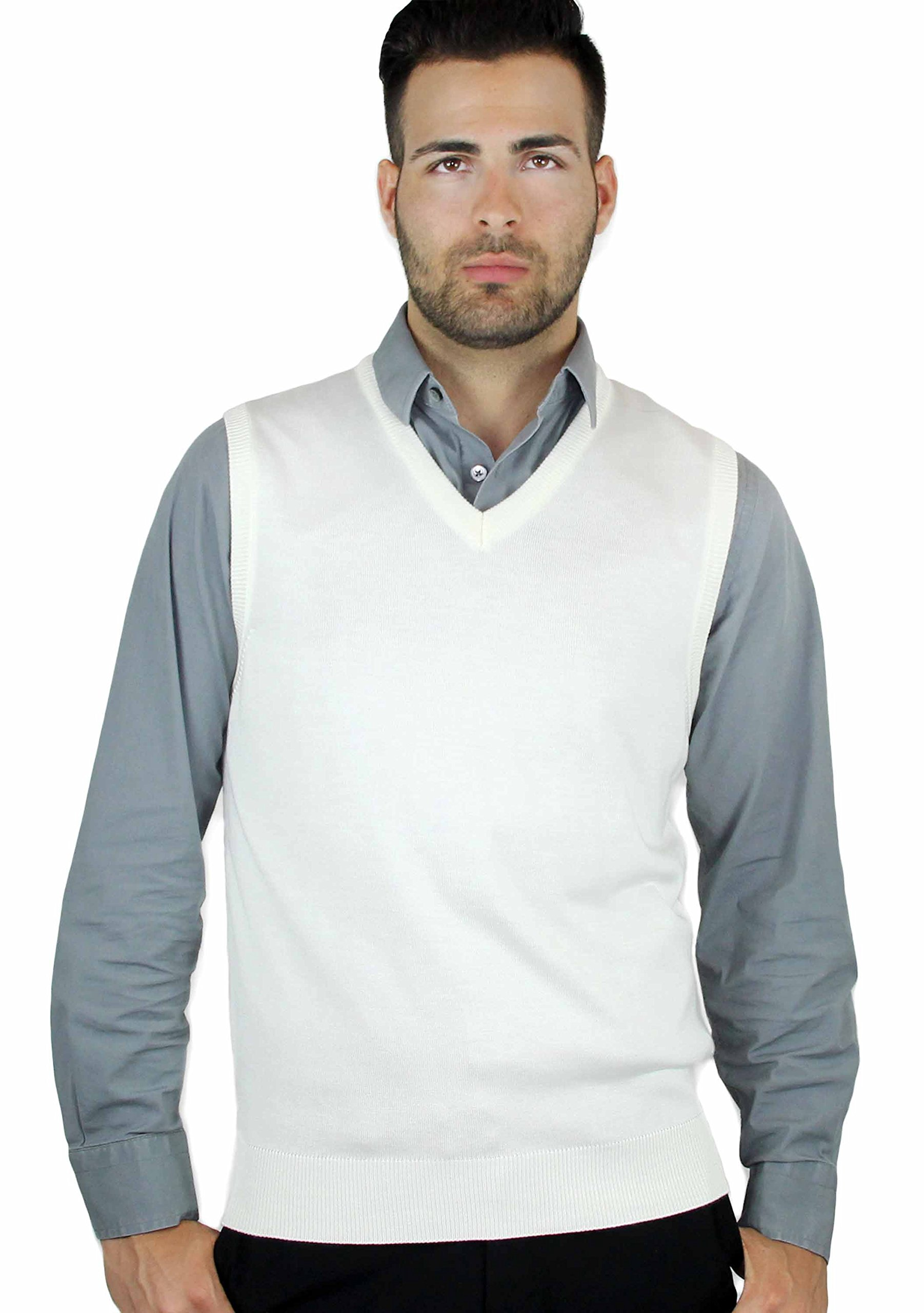 Blue Ocean Solid Color Sweater Vest Off-white Small by Blue Ocean