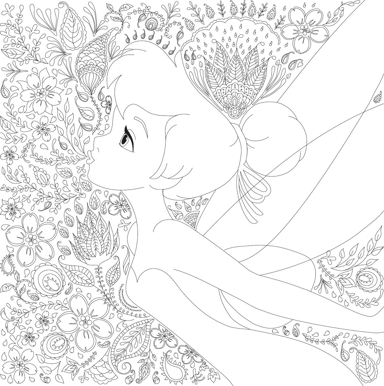 Disney Girls Coloring Book With Little Friends 世界の花模様を楽しむ