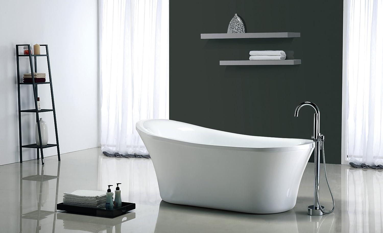 Ove Decors Rachel 70-Inch Freestanding Acrylic Bathtub, Pure white ...